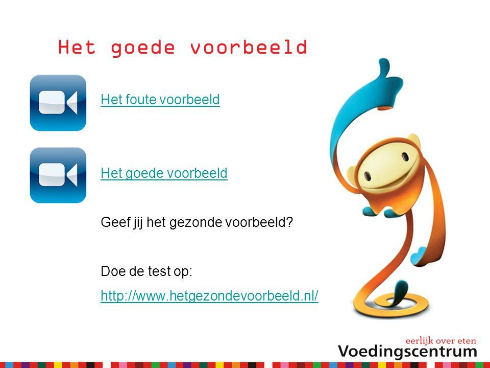 Het goede voorbeeld Het foute voorbeeld Het goede voorbeeld Geef jij het gezonde voorbeeld? Doe de test op: http://www.hetgezondevoorbeeld.nl/