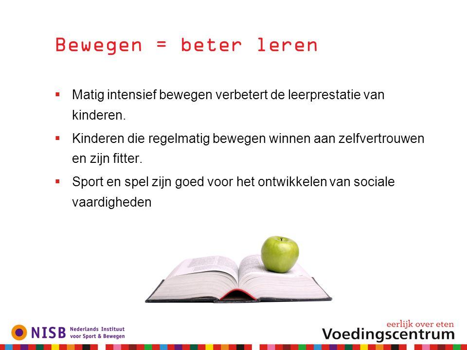 Bewegen = beter leren  Matig intensief bewegen verbetert de leerprestatie van kinderen.  Kinderen die regelmatig bewegen winnen aan zelfvertrouwen e