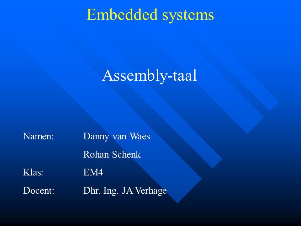 Assembly-taal Namen:Danny van Waes Rohan Schenk Klas:EM4 Docent:Dhr.