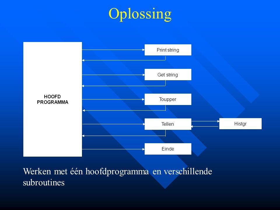 Print string Get string Toupper Tellen Einde Histgr HOOFD PROGRAMMA Oplossing Werken met één hoofdprogramma en verschillende subroutines