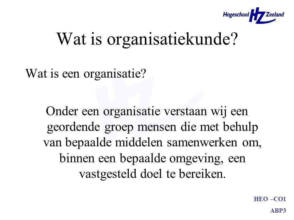 HEO –CO1 ABP3 Wat is organisatiekunde.Wat is een organisatie.