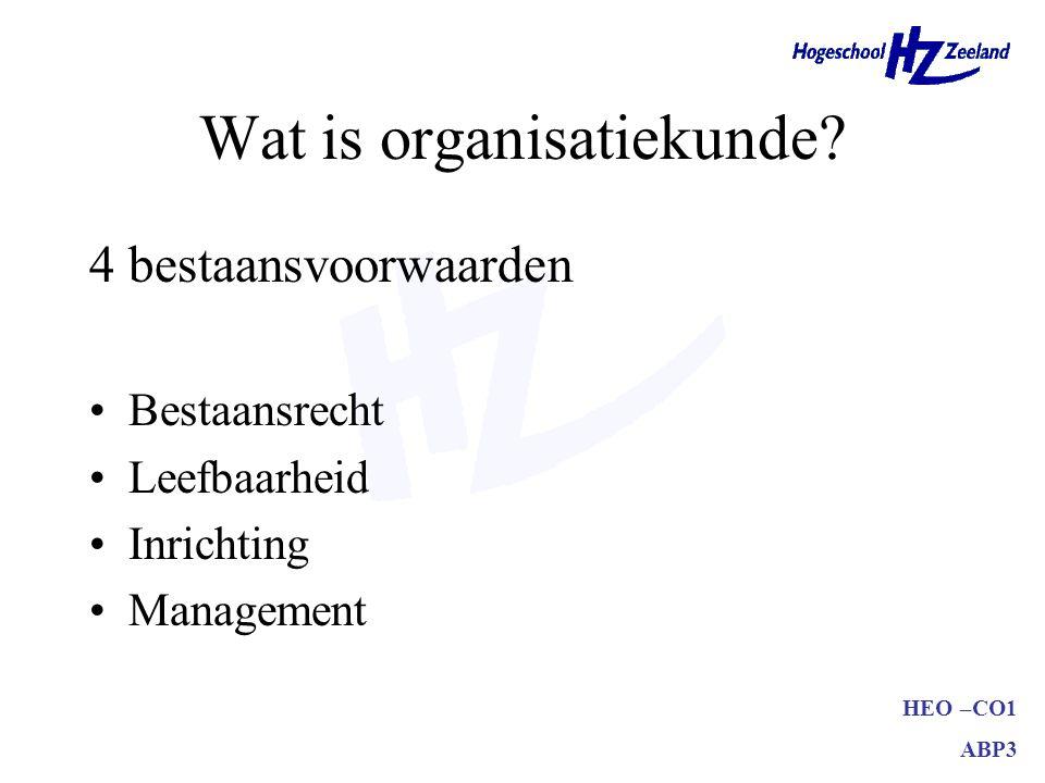 HEO –CO1 ABP3 Wat is organisatiekunde.