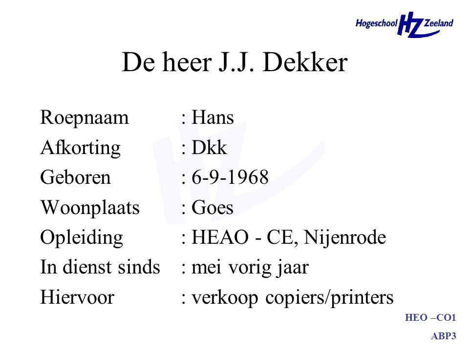 HEO –CO1 ABP3 De heer J.J.