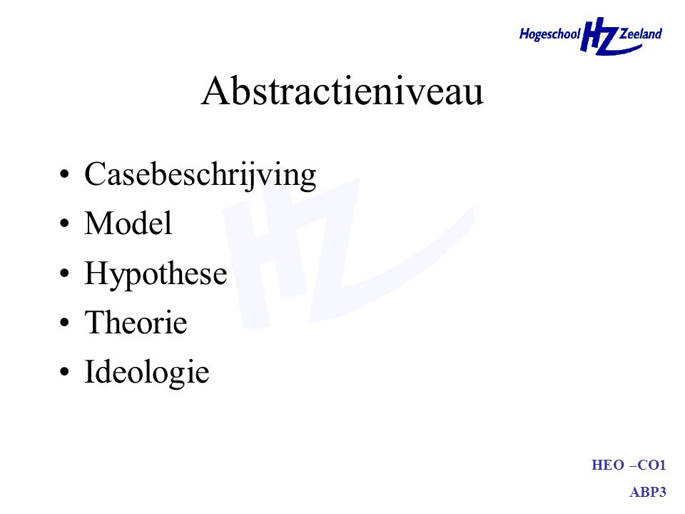 HEO –CO1 ABP3 Abstractieniveau Casebeschrijving Model Hypothese Theorie Ideologie