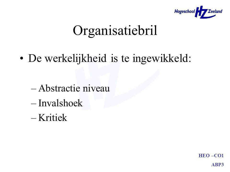 HEO –CO1 ABP3 Organisatiebril De werkelijkheid is te ingewikkeld: –Abstractie niveau –Invalshoek –Kritiek