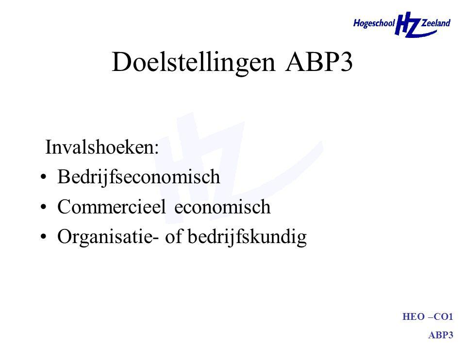 HEO –CO1 ABP3 Doelstellingen ABP3 Invalshoeken: Bedrijfseconomisch Commercieel economisch Organisatie- of bedrijfskundig
