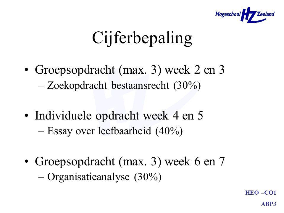 HEO –CO1 ABP3 Cijferbepaling Groepsopdracht (max.
