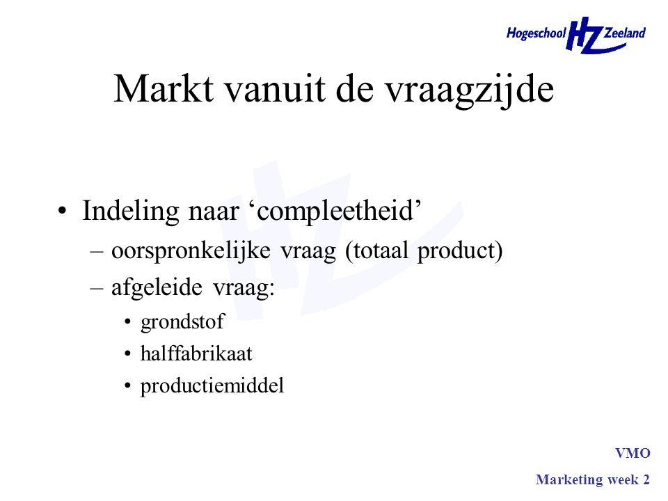 Markt vanuit de vraagzijde Indeling naar 'compleetheid' –oorspronkelijke vraag (totaal product) –afgeleide vraag: grondstof halffabrikaat productiemiddel VMO Marketing week 2