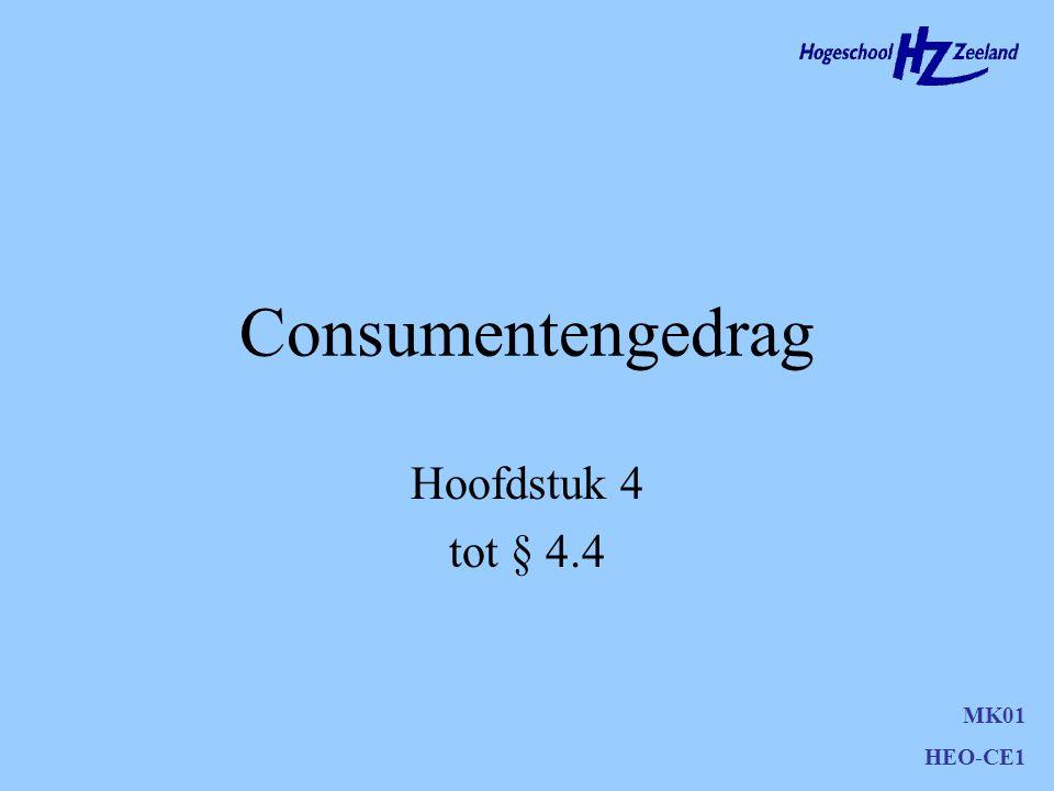 Probleemerkenning Geen koop zonder probleem probleem wordt opgelost door behoefte –duidelijke behoefte –manifest worden van een latente behoefte MK01 HEO-CE1