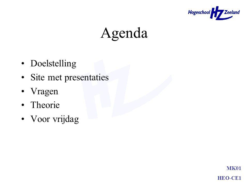 Agenda Doelstelling Site met presentaties Vragen Theorie Voor vrijdag MK01 HEO-CE1