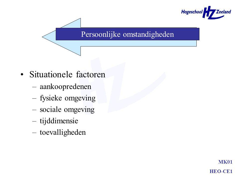 Levenstijl –AIO activiteiten interesses opinies –Zelfbeeld/zelfconcept actuele zelf ideale zelf MK01 HEO-CE1 Persoonlijke omstandigheden