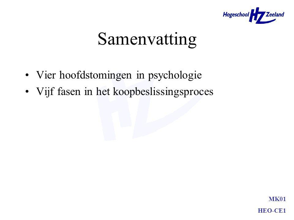 Samenvatting Vier hoofdstomingen in psychologie –behaviourisme –psychoanalyse –humanistische psychologie –cognitieve psychologie MK01 HEO-CE1