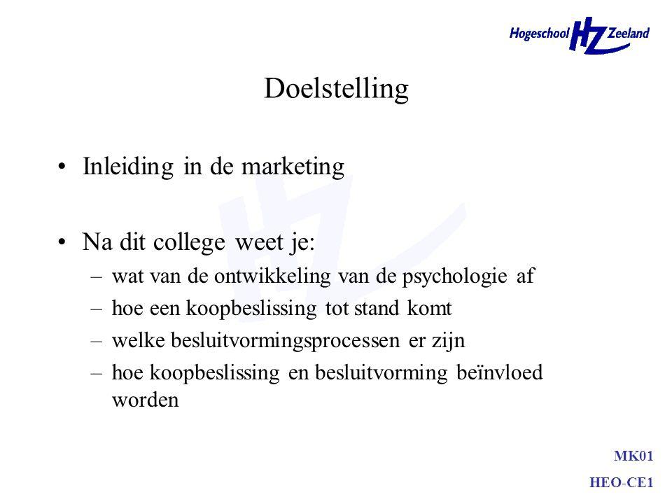 Doelstelling Inleiding in de marketing Na dit college weet je: –wat van de ontwikkeling van de psychologie af –hoe een koopbeslissing tot stand komt –welke besluitvormingsprocessen er zijn –hoe koopbeslissing en besluitvorming beïnvloed worden MK01 HEO-CE1