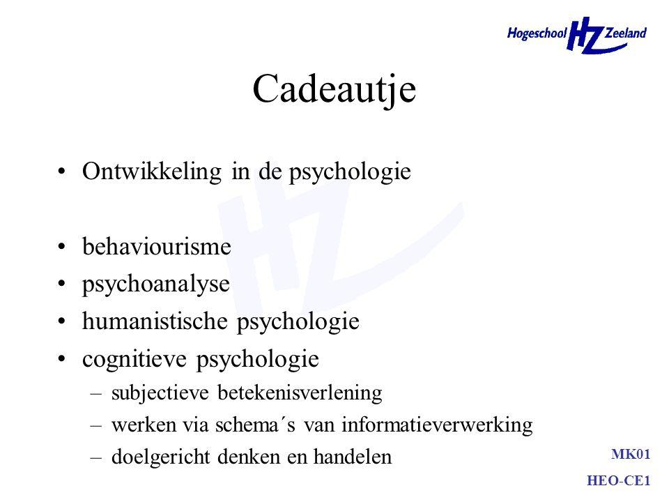 Cadeautje Ontwikkeling in de psychologie behaviourisme psychoanalyse humanistische psychologie cognitieve psychologie –subjectieve betekenisverlening –werken via schema´s van informatieverwerking –doelgericht denken en handelen MK01 HEO-CE1