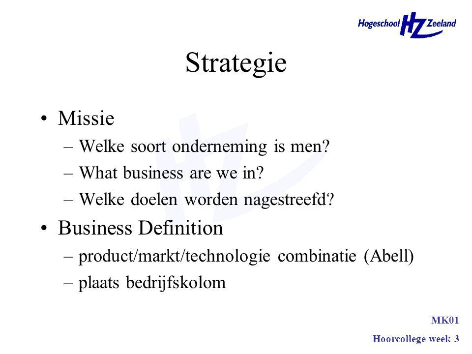 Strategie MK01 Hoorcollege week 3 Concernstrategie Ondernemingsstrategie Marketingstrategie
