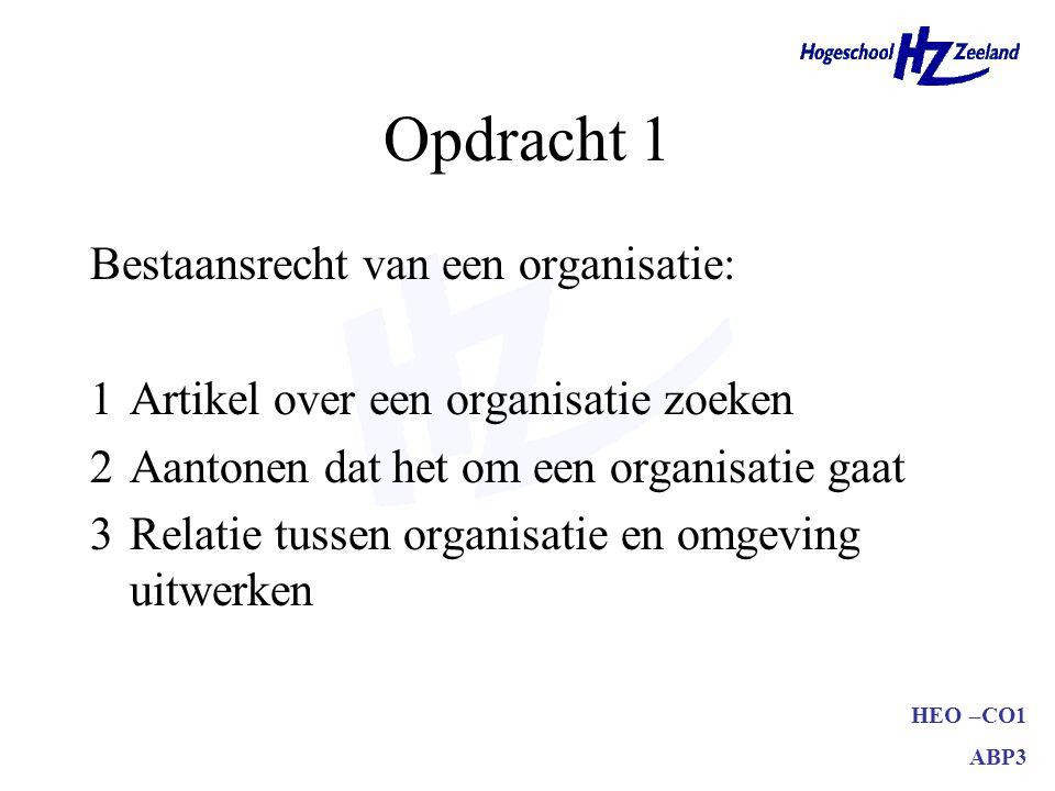 HEO –CO1 ABP3 Opdracht 1 Bestaansrecht van een organisatie: 1Artikel over een organisatie zoeken –bedrijf –branche –ondernemingsdoelstelling