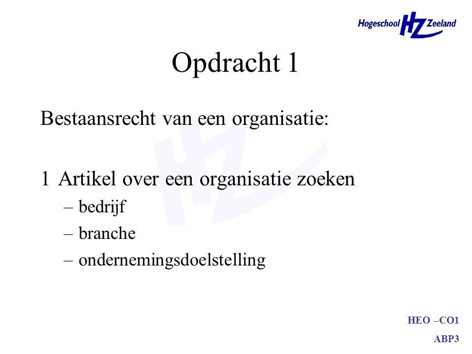 HEO –CO1 ABP3 Opdracht 1 Bestaansrecht van een organisatie: 2Aantonen dat het om een organisatie gaat –gebruik hoofdstuk 1 hiervoor –alle onderdelen van de definitie behandelen