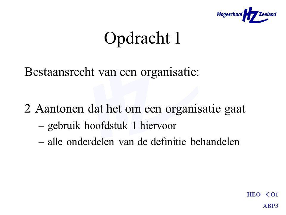 HEO –CO1 ABP3 Opdracht 1 Bestaansrecht van een organisatie: 3Relatie tussen organisatie en omgeving uitwerken –domein, taakomgeving, concurrenten, overheid, klanten, aandeelhouders