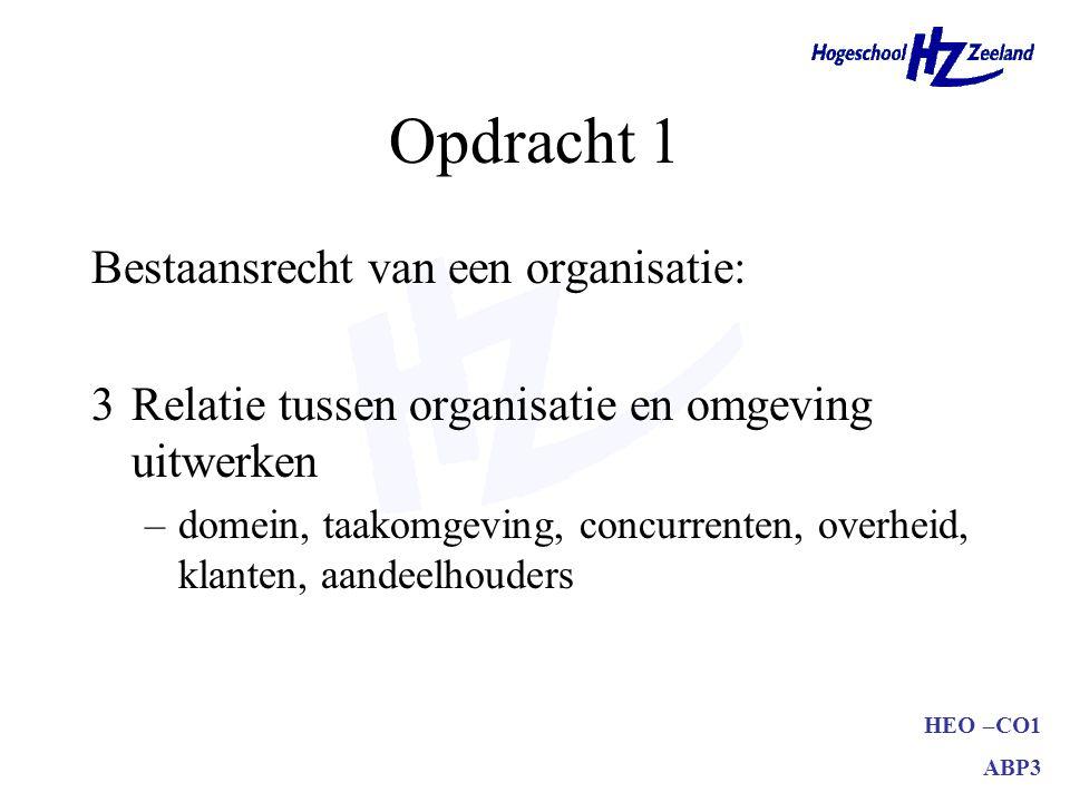 HEO –CO1 ABP3 Opdracht 1 Bestaansrecht van een organisatie: max.