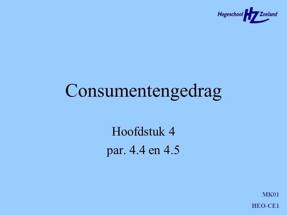 Consumentengedrag Hoofdstuk 4 par. 4.4 en 4.5 MK01 HEO-CE1
