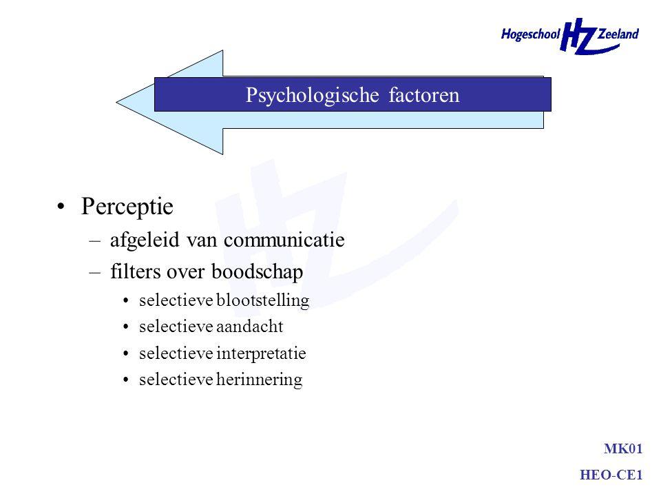 Perceptie –afgeleid van communicatie –filters over boodschap selectieve blootstelling selectieve aandacht selectieve interpretatie selectieve herinnering MK01 HEO-CE1 Psychologische factoren