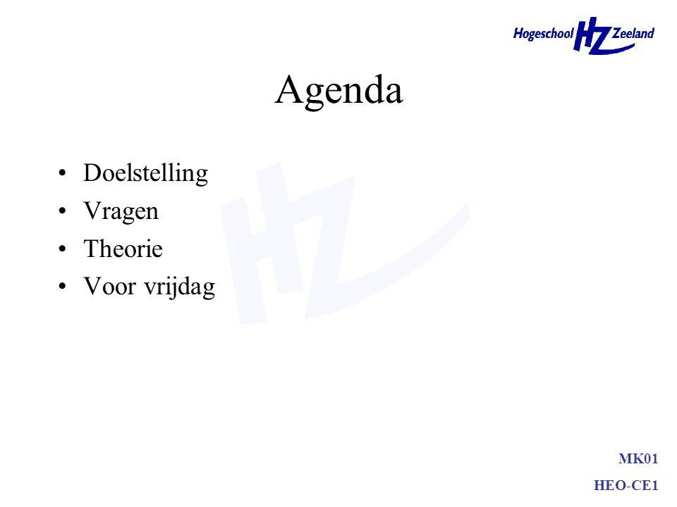 Agenda Doelstelling Vragen Theorie Voor vrijdag MK01 HEO-CE1