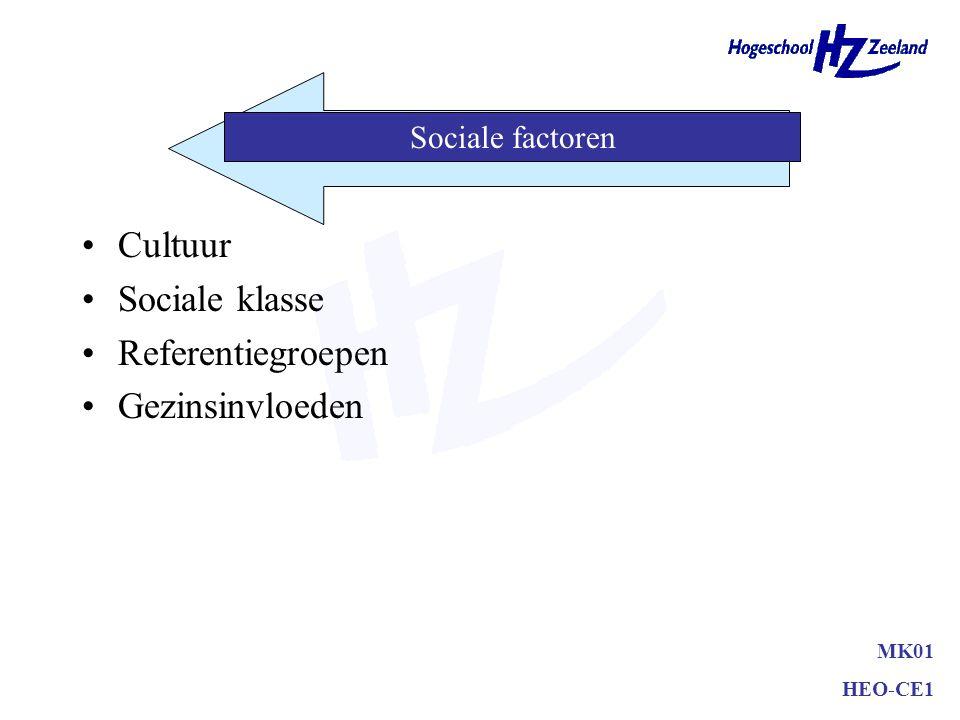 Cultuur Sociale klasse Referentiegroepen Gezinsinvloeden MK01 HEO-CE1 Sociale factoren