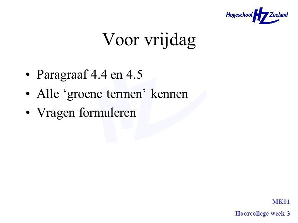 Voor vrijdag Paragraaf 4.4 en 4.5 Alle 'groene termen' kennen Vragen formuleren MK01 Hoorcollege week 3