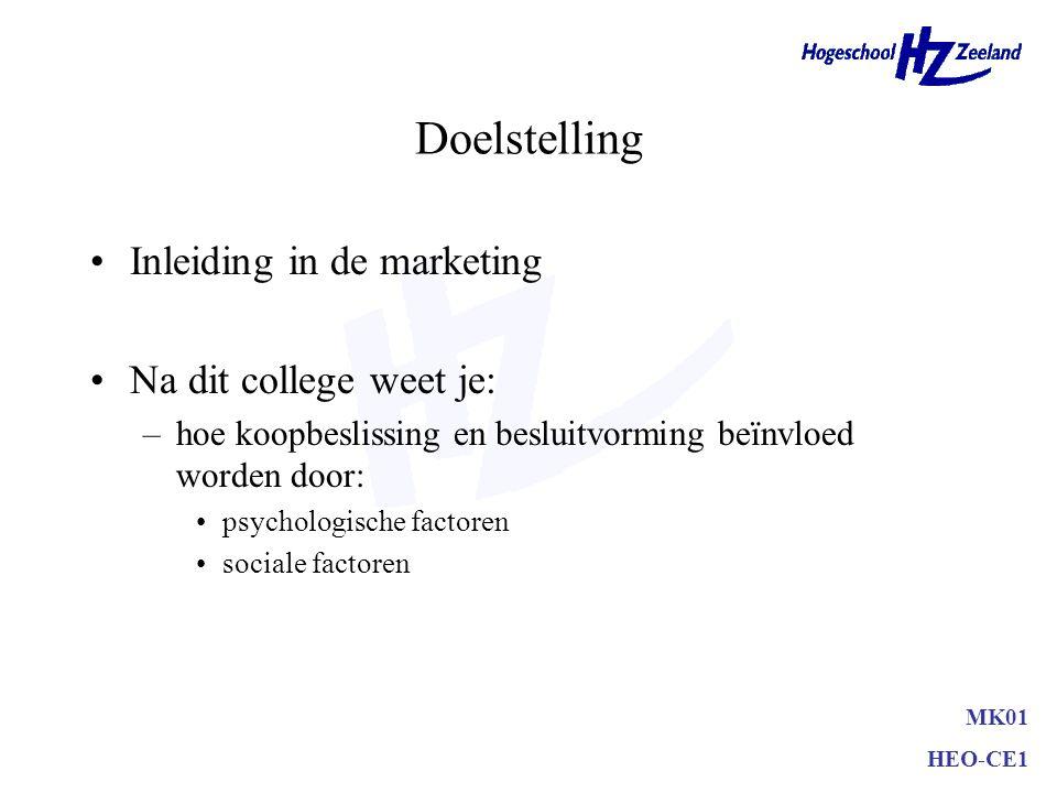 Doelstelling Inleiding in de marketing Na dit college weet je: –hoe koopbeslissing en besluitvorming beïnvloed worden door: psychologische factoren sociale factoren MK01 HEO-CE1