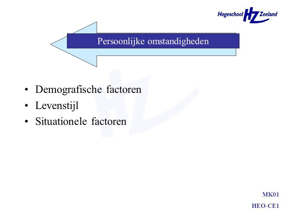 Demografische factoren Levenstijl Situationele factoren MK01 HEO-CE1 Persoonlijke omstandigheden
