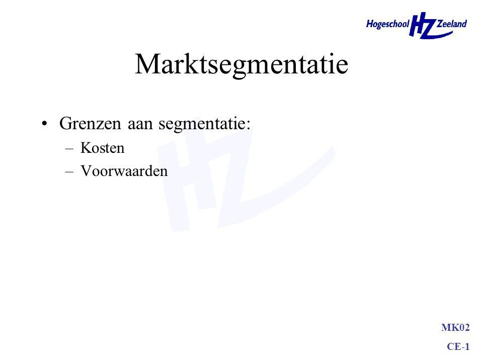 MK02 CE-1 1 Marktsegmentatie 2 Doelgroepbepaling 3 Positionering De marktwordt opgesplitst en onderverdeeld in marktsegmenten om een doelgroep te kiez