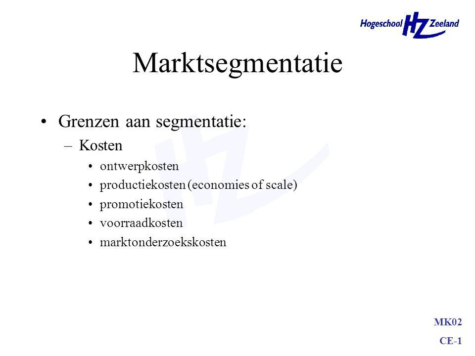 MK02 CE-1 Marktsegmentatie Grenzen aan segmentatie: –Kosten ontwerpkosten productiekosten (economies of scale) promotiekosten voorraadkosten marktonderzoekskosten