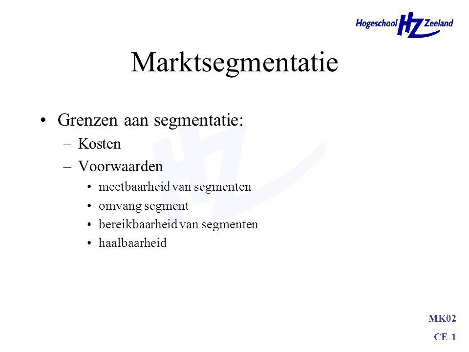 MK02 CE-1 Marktsegmentatie Grenzen aan segmentatie: –Kosten –Voorwaarden meetbaarheid van segmenten omvang segment bereikbaarheid van segmenten haalbaarheid