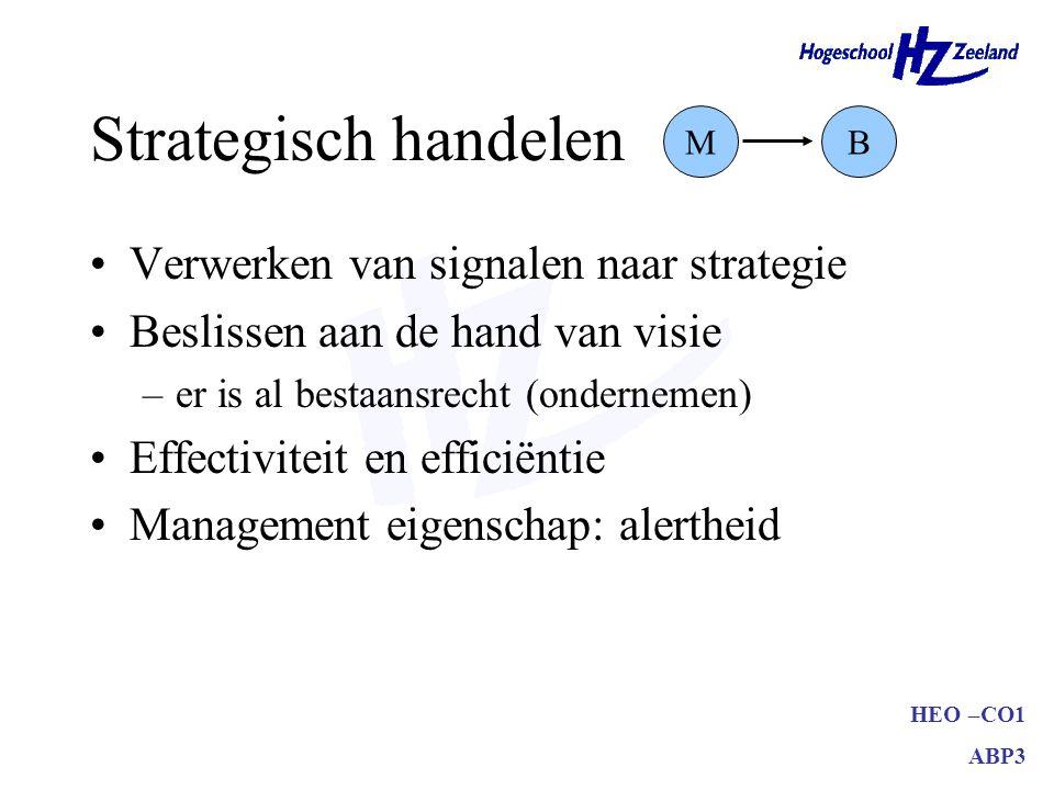 HEO –CO1 ABP3 Strategisch handelen Verwerken van signalen naar strategie Beslissen aan de hand van visie –er is al bestaansrecht (ondernemen) Effectiviteit en efficiëntie Management eigenschap: alertheid MB