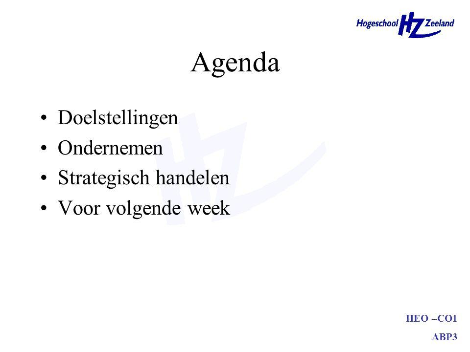 HEO –CO1 ABP3 Agenda Doelstellingen Ondernemen Strategisch handelen Voor volgende week