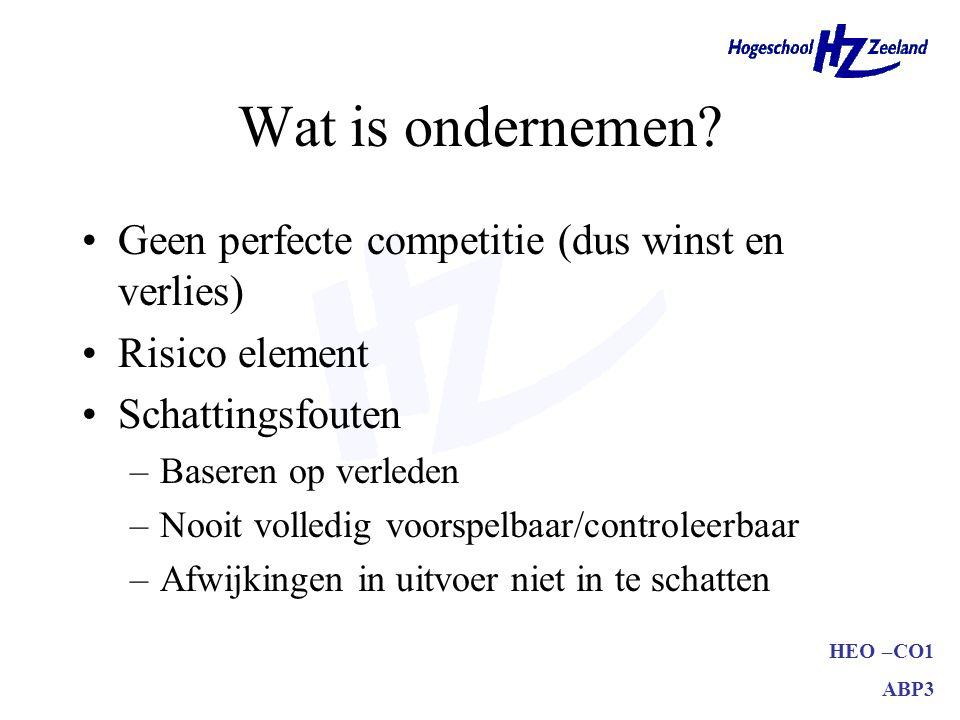 HEO –CO1 ABP3 Wat is ondernemen? Geen perfecte competitie (dus winst en verlies) Risico element Schattingsfouten –Baseren op verleden –Nooit volledig