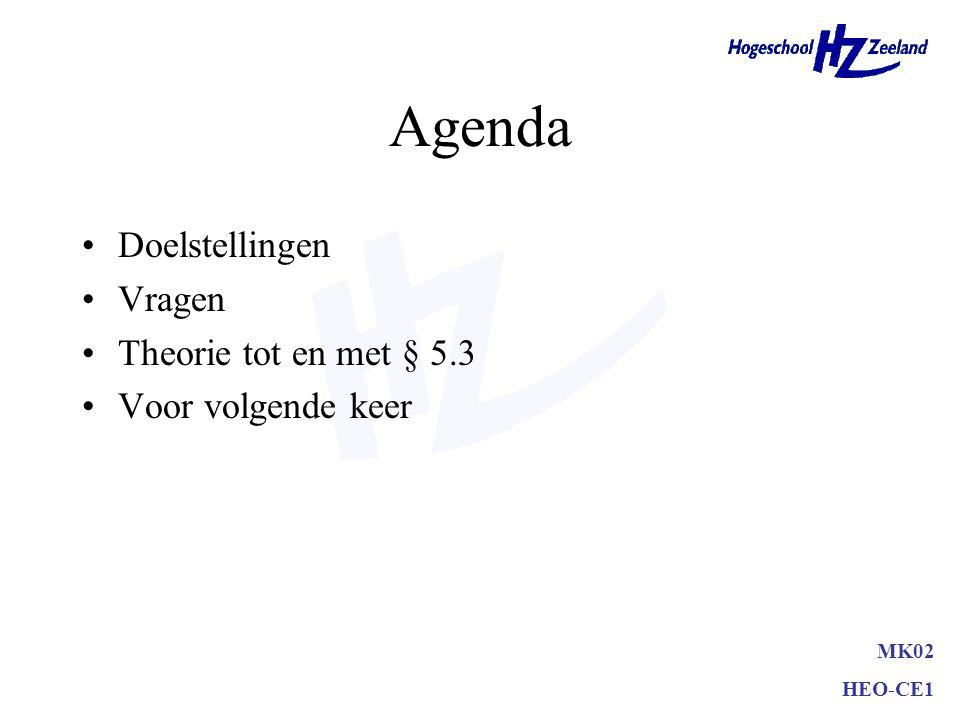 Agenda Doelstellingen Vragen Theorie tot en met § 5.3 Voor volgende keer MK02 HEO-CE1
