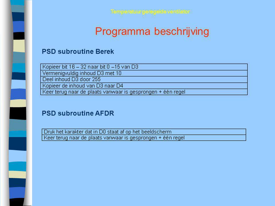 Programma beschrijving Temperatuur geregelde ventilator PSD subroutine Berek PSD subroutine AFDR