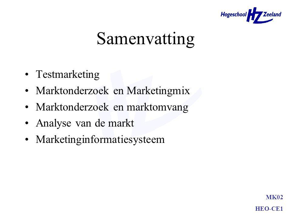 Samenvatting Testmarketing Grondslagen testmarketing –normale distributie- en reclamemogelijkheden –afgesloten geheel –normale inspanning marketingmix