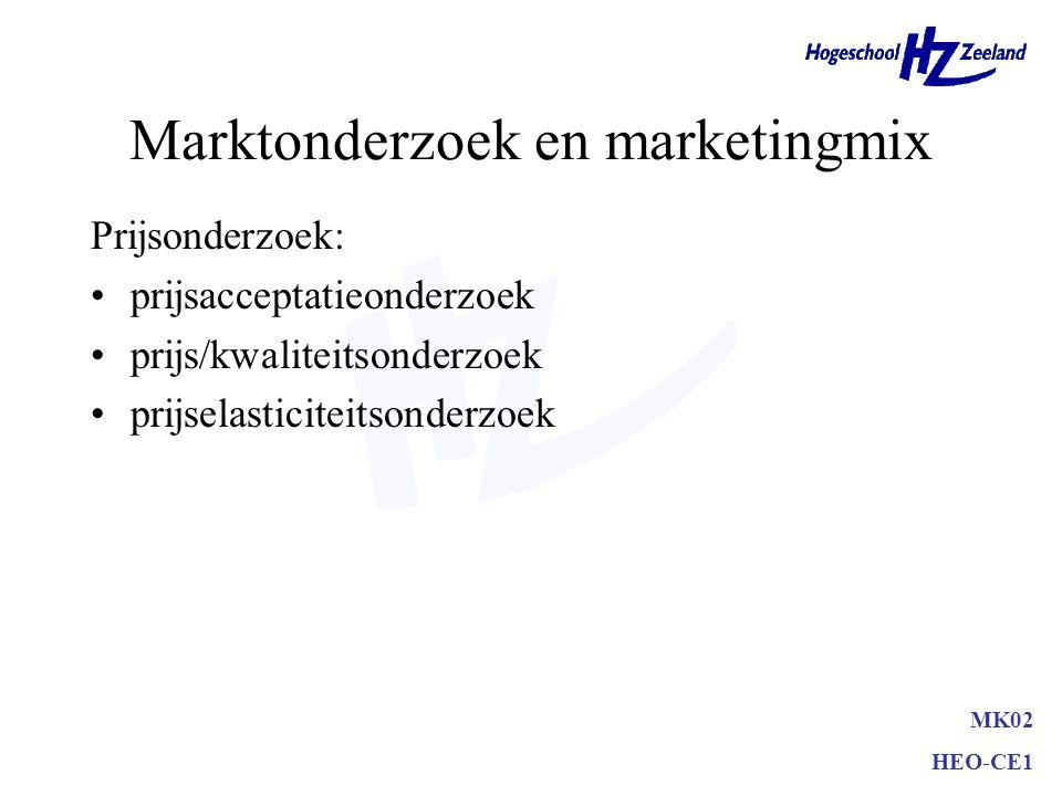Marktonderzoek en marketingmix Productonderzoek: productideeënonderzoek productconceptonderzoek productuiteenzetting –echt gebruik (smaaktest, percept