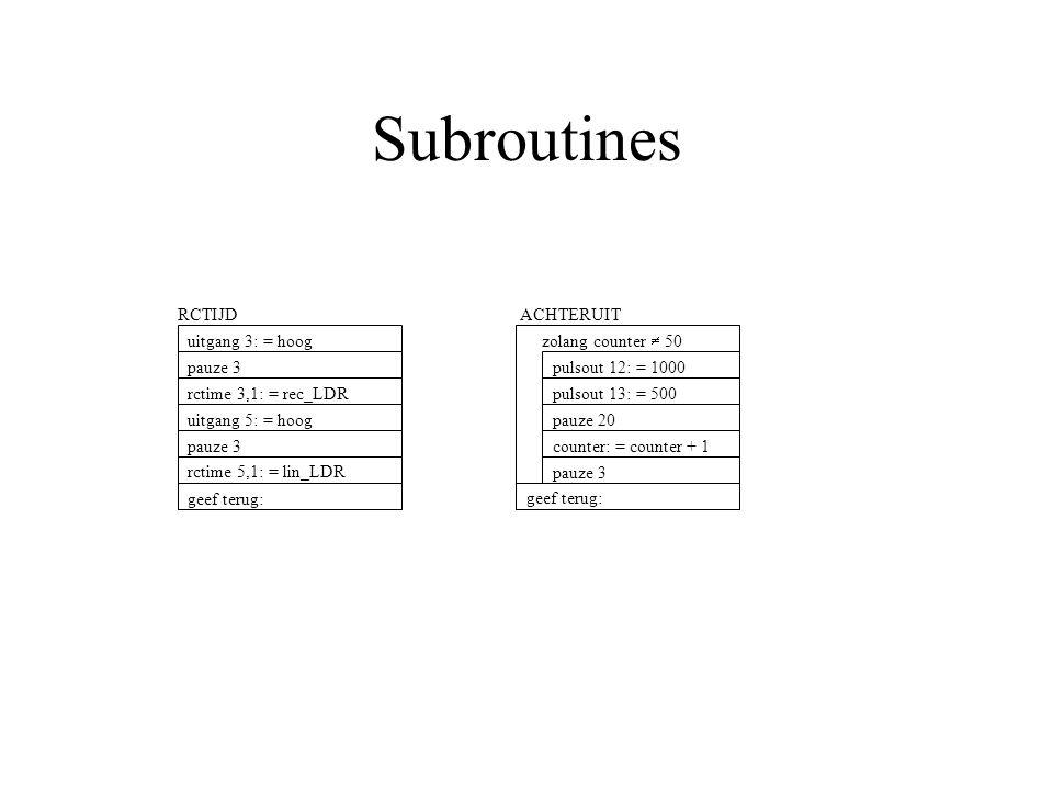 Subroutines RCTIJD pauze 3 rctime 3,1: = rec_LDR uitgang 5: = hoog uitgang 3: = hoog rctime 5,1: = lin_LDR geef terug: pauze 3 ACHTERUIT pulsout 13: = 500 pauze 20 counter: = counter + 1 pulsout 12: = 1000 zolang counter  50 geef terug: pauze 3