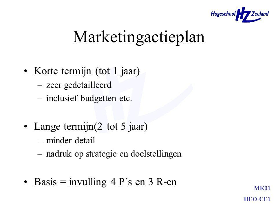 Ansoff-model Nieuwe of bestaande markten Nieuwe of bestaande produkten –marktpenetratie –marktontwikkeling –productontwikkeling –diversificatie MK01 H