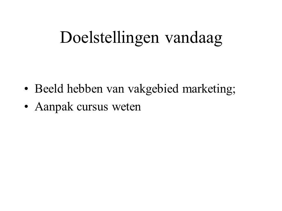 Doelstellingen vandaag Beeld hebben van vakgebied marketing; Aanpak cursus weten