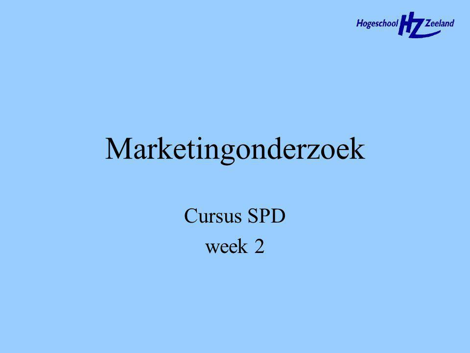 Marketingonderzoek Cursus SPD week 2