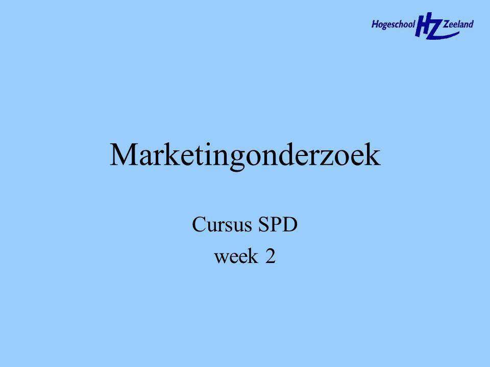 Marketingonderzoek Cursus SPD week 2