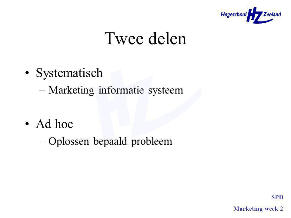 Twee delen Systematisch –Marketing informatie systeem Ad hoc –Oplossen bepaald probleem SPD Marketing week 2