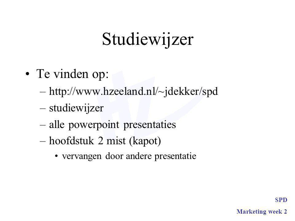Studiewijzer Te vinden op: –http://www.hzeeland.nl/~jdekker/spd –studiewijzer –alle powerpoint presentaties –hoofdstuk 2 mist (kapot) vervangen door andere presentatie SPD Marketing week 2