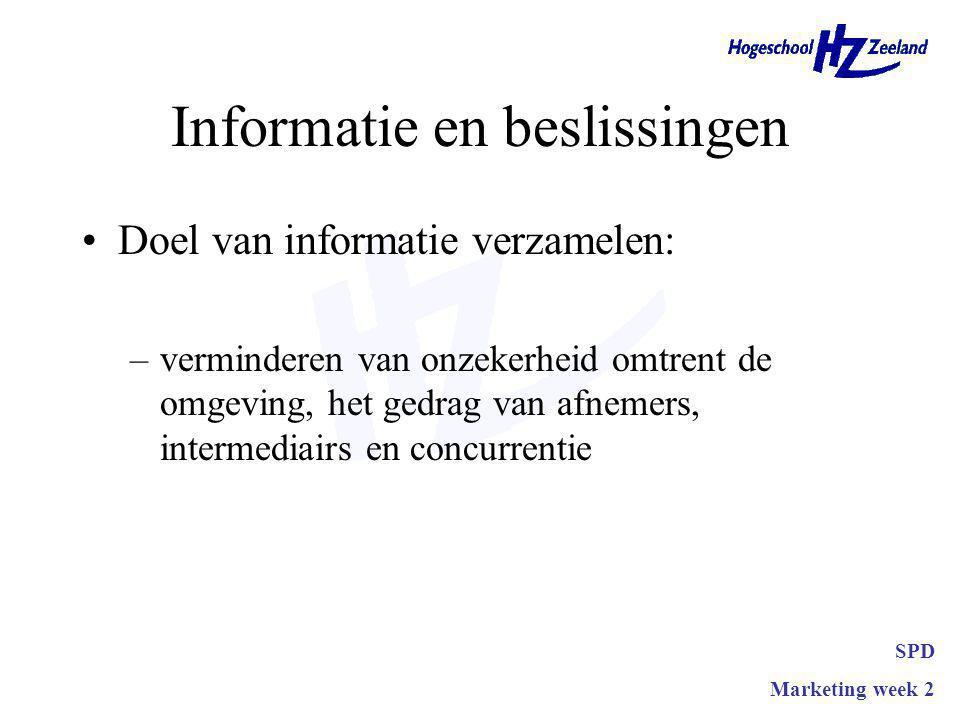 Informatie en beslissingen Doel van informatie verzamelen: –verminderen van onzekerheid omtrent de omgeving, het gedrag van afnemers, intermediairs en