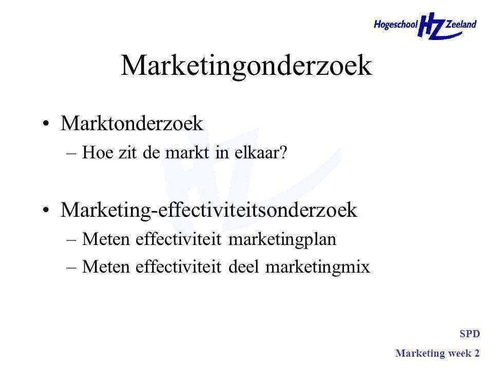 Marketingonderzoek Het systematisch en objectief zoeken naar, verwerken en analyseren van gegevens omtrent de markt, omgeving en effectiviteit van beleid SPD Marketing week 2