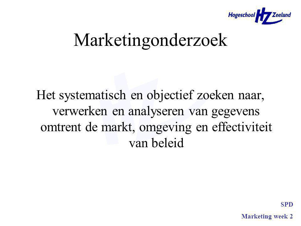 Twee delen Systematisch –Marketing informatie systeem Ad hoc –Oplossen bepaald probleem SPD Marketing week 2